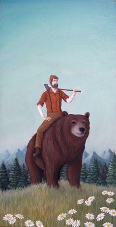 Illustration by Chad Eaton Lumberjack Party, Lumberjack Beard, Lumberjack Style, Illustration Arte, Paul Bunyan, Native American Art, American History, American Women, American Indians