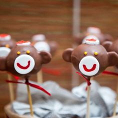 Sock monkey cake pops | CatchMyParty.com