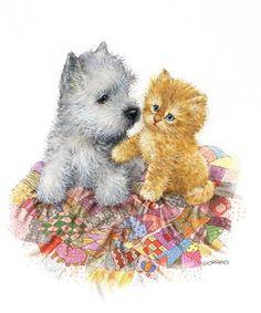Belles illustrations de chiens et chats