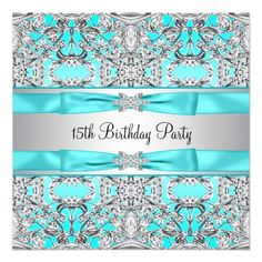 Elegant Silver Teal Blue Quinceanera