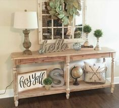 Southern chic living room Modern Entryway, Rustic Entryway, Entryway Decor, Foyer Table Decor, Farmhouse Entryway Table, Rustic Entry Table, Entryway Tables, Farmhouse Décor, Modern Farmhouse Decor