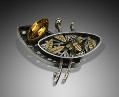 Suzanne Williams, bee pin, sterling silver, 18k gold, citrine, diamonds
