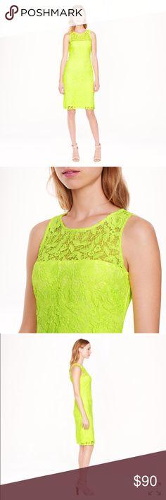 Selling this J.Crew Lace Sheath Dress in Neon Citrus on Poshmark! My username is: hkcung. #shopmycloset #poshmark #fashion #shopping #style #forsale #J. Crew #Dresses & Skirts
