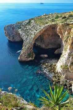 The Blue Grotto in Malta. The Blue Grotto is actually a number of sea caverns on the south coast of Malta