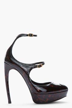 ALEXANDER MCQUEEN Black and brown tortoiseshell patent Dream heels