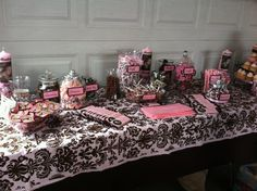 Brown and pink baby shower theme.