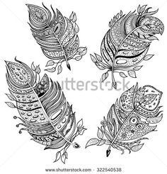 Set Of 4 Hand Drawn Line Art Single Feathers With Ornaments In Zentangle Style