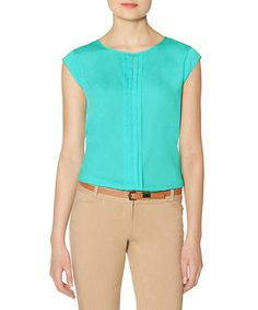 Look what I found on #zulily! Bahama Blue Pintuck Cap-Sleeve Top #zulilyfinds