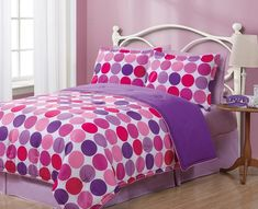 2 Pieces Reversible Purple, Pink, and Burgundy Polka Dots Comforter and Sham Set Twin Size Bedding Queen Bed Comforters, Queen Bedding Sets, Queen Comforter Sets, Queen Beds, Modern Kids Beds, Queen Size Bed Sets, Grey Crib, Bedroom Green, Kid Beds