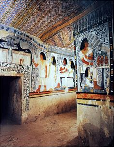 Burial chamber of Sennefer's tomb; Dead Sennefer goes to Abydos