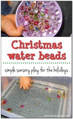 Christmas water beads: Holiday sensory play with water beads and miniature Christmas lights. If you haven't tried water beads you are definitely missing out on the super cool experience they provide! Creative Activities For Kids, Kids Learning Activities, Sensory Activities, Crafts For Kids, Preschool Ideas, Preschool Centers, Preschool Class, Creative Play, Toddler Activities
