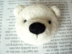 Needle felted brooch, White bear, white wool, Valentine's Day gift