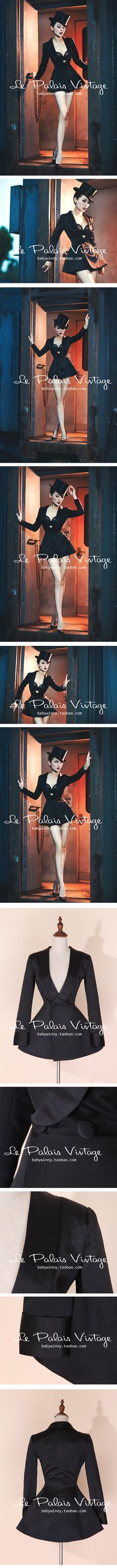 le palais vintage优雅经典显瘦绸缎收腰裙摆式西装外套吸烟装0.4-淘宝网