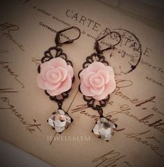 Pink Earrings Bridal Jewelry Pastel Pink Blush Flower Dangling Earrings Vintage Style Rhinestone Filigree Modern Victorian Romantic Wedding