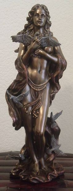 $66.00 | Greek Goddess Aphrodite with Doves Statue in Cold Cast Bronze - Roman Goddess Venus Statue