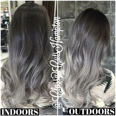 And here's an indoor and outdoor shot of Katie's amazing silver ombre ! ❤️…