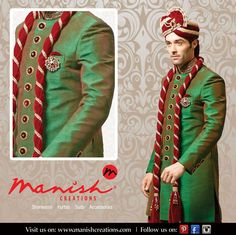 If you look good, you feel good and if you feel good, you do good!! Dress like you are the king for your day!! #ManishCreations #EthnicWear #GrandeurinGreen #KingSize