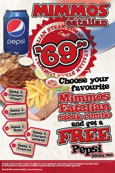 Mimmos Eatalian Steak Combo Prawn, Pepsi, Your Favorite, Steak, Cereal, Restaurants, African, Canning, Breakfast