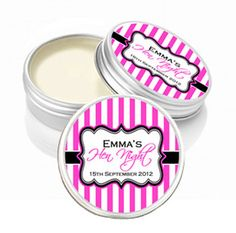 candy stripe hen night party lip balms, hen night party bag fillers, party lip balm tins with persoanlised labels Hen Party Bags, Hens Night, Party Bag Fillers, Candy Stripes, Table Signs, Personalized Stickers, Tins, Projects To Try, Lip Balms