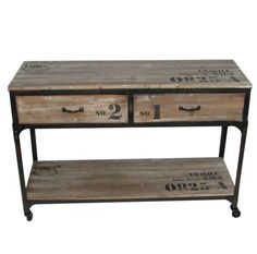 Iron Rustic Wood Industrial Sideboard Console Table - With Drawers & Castor Wheels