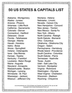 Clean Cut States And Capitals Study List 50 Us States List Us Capitals List Alphabetical Order Us City And State List Of Us Capitals Us States List, U.s. States, United States, Learning Activities, Kids Learning, Geography Activities, Teaching Government, Voyage Usa, States And Capitals