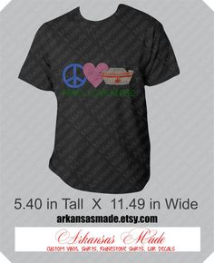 Peace Love Nurse rhinestone tshirt, RN, LPN, caregiver, CNA, nurse gift, many sizes, many colors to chose from - pinned by pin4etsy.com