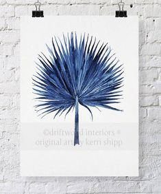 Fan Palm Watercolor in Denim Blue Print by driftwoodinteriors