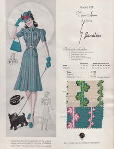 Spring Summer 1940s  Fashion Frock day dress print leaves vines blue pink