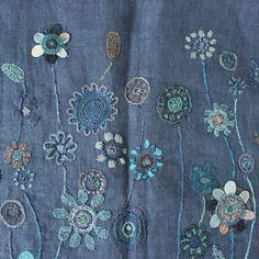 Sophie Digard Linen Flower Stole / Navy - taste&touch ウェブショップ
