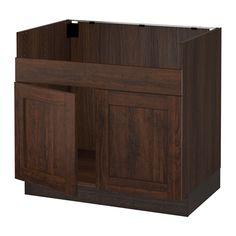 SEKTION Base cabinet f/DOMSJÖ 2 bowl sink - wood effect brown, Edserum wood effect brown - IKEA