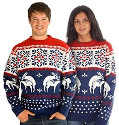 Humping Reindeer Rude Blue Knitted Cheesy Christmas Jumper | Sizes Small, Medium, Large & Extra Large
