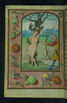 Prayer Book (fragment), St. Sebastian martyrred, Walters Manuscript W.425, fol. 43v by Walters Art Museum Illuminated Manuscripts http://flic.kr/p/A7t178