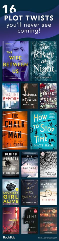 16 books with surprising plot twists, including recommended mystery books, thriller books, and novels with plenty of suspense.