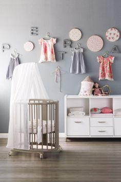 Love the wall idea. Maybe with baby doll dresses when I redo the girl room decor Baby Bedroom, Nursery Room, Kids Bedroom, Nursery Decor, Room Decor, Nursery Grey, Nursery Inspiration, Little Girl Rooms, Kid Spaces