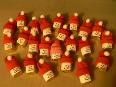 mini snowmen - hats made w/the cut-off fingertips of Dollar Store gloves; you have to scroll down on the page to get to it.