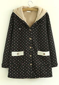 Black Floral Collar With Hat Cotton Padded Coat