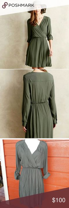 bd4817f5027f0 Maeve for Anthropologie Faux Wrap Dress Maeve for Anthropologie Faux Wrap  Dress Size Medium Hunter Green