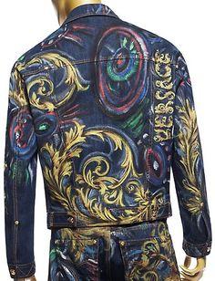 Versace Hand Painted Denim Jacket. $1,995.00