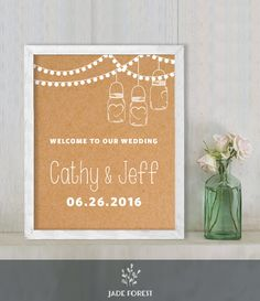 ♥ CLICK NOW TO SAVE 10% (Coupon code: PIN10) ▷ Wedding Welcome Sign DIY // String Lights, Mason Jar Lantern on Kraft // Printable Poster PDF  // Welcome To Our Wedding  ▷ Customized Sign by JadeForestDesign on Etsy