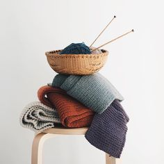 A satisfying pile of wool scarves only makes us want to cast on for yet another one... #quinceandco