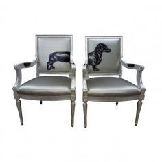 Silver Sausage Dog Armchairs