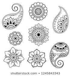 Set of Mehndi flower pattern for Henna drawing and tattoo. Decoration in ethnic oriental, Indian style. Set of Mehndi flower pattern for Henna drawing and tattoo. Decoration in ethnic oriental, Indian style. Henna Tattoo Designs, Tatoo Henna, Henna Tattoo Muster, Simbolos Tattoo, Henna Hand Designs, Mehndi Designs Book, Mehndi Designs For Beginners, Muster Tattoos, Mehndi Designs For Hands
