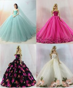 4 X Vestido De Princesa Fashion/roupas De Casamento Vestido de/Para Boneca Barbie | Bonecas e ursinhos, Bonecas, Barbie contemporânea (1973 até o presente) | eBay!
