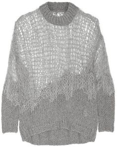 Maison Martin Margiela Open-knit wool-blend sweater, Maison Martin Margiela's gray sweater has been looped by hand to create a generous open-knit construction. The delicate wool-blend design has dolman sleeves and falls to a relaxed, exaggerated hem. Temper the oversized style by layering it over slim-fit pants.