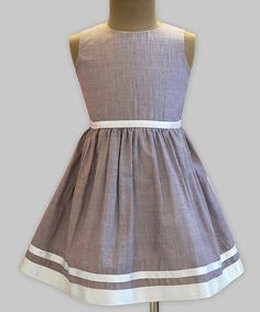 This A.T.U.N. Taupe Pinstripe Fit & Flare Dress - Infant, Toddler & Girls by A.T.U.N. is perfect! #zulilyfinds