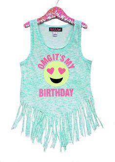 OMG It's My Birthday Emoji Fringe Tank