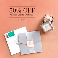For two days only, enjoy  50% off address labels and gift tags using code DEAL1212. Complete your wedding invitation envelopes with a personalized touch. Offer ends 12/12/13 at 11:59pm (PT). Click for details!