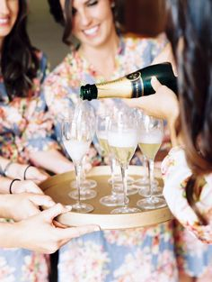 inspiration | sip champagne in pretty robes while getting ready for the big day | via: style me pretty