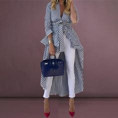 Shop Striped Tied Front Dip Hem Shirt Discover sexy women fashion at IVRose - July 20 2019 at Trend Fashion, Look Fashion, Fashion Outfits, Fashion Boots, Womens Fashion, Casual Outfits, Fashion Blouses, Fashion Hair, Girly Outfits
