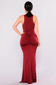 Carlie Draped Dress - Wine